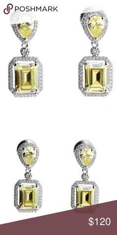 emerald-cut fancy yellow earrings emerald-cut fancy yellow earrings  925 sterling silver dipped in rhodium for extra shine and strength Jewelry Earrings