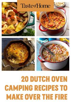 20 Dutch Oven Camping Recipes to Make Over the Fire Best Camping Meals, Camping Recipes, Dutch Oven Camping, Outdoor Cooking, Food To Make, Grilling, Fire, Dinner, Dining