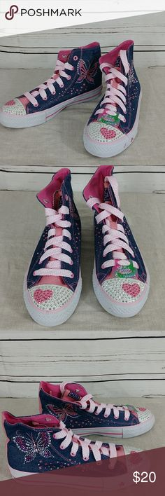 Sketcher high top sneakers NWOB Cute denim lace up high tops, rhinestone embellished with butterfly print. Never worn, bought, but sister outgrew them before she could ever wear them. No box. Please ask questions prior to purchase. Sketchers Shoes Sneakers