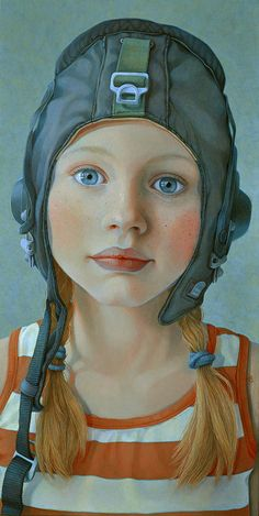 """The Little Pilot"" - Jantina Peperkamp {contemporary figurative art female head girl face portrait painting #loveart} jantina-peperkamp.nl"