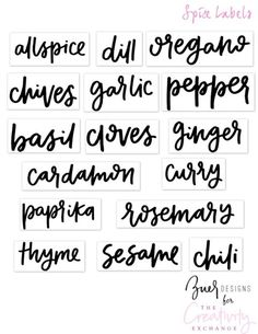 Free Printable Pantry Labels to use on clear sticker paper.
