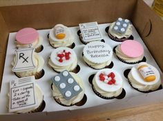 Cupcakes for a pharmacist! All fondant toppers.