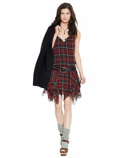 Red Sleeveless Plaid Chiffon Dress