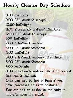 Love this cleanse schedule! After 1 day, I was down 2 lbs. Feeling FAB with Isagenix!