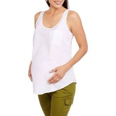 Faded Glory Maternity Woven Tank Top in Solid, Stripe and Print--available in plus size, Size: Medium, White
