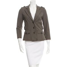 Pre-owned Elizabeth and James Wool Notch-Lapel Blazer ($85) ❤ liked on Polyvore featuring outerwear, jackets, blazers, green, wool blazer, notch collar jacket, elizabeth and james jacket, 3/4 sleeve white blazer and white jacket