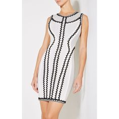 Herve Leger Imaan Zigzag Pointelle Knit Dress (95,050 PHP) ❤ liked on Polyvore featuring dresses, white, no sleeve dress, zig zag dresses, herve leger dress, zip dress and sleeveless dress