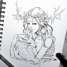 "HIVE PICK OF THE DAY! Lydia Fenwick @lyfeillustration "" Hecate"" 8.5"" x 12"" Ink on paper #hivegalley #galleryrow #dtla #hecate… Croquis, Fawn Tattoo, Deer Tattoo, King Drawing, Deer Drawing, Deer Design, Art Et Design, Deer Sketch, Orphan Girl"