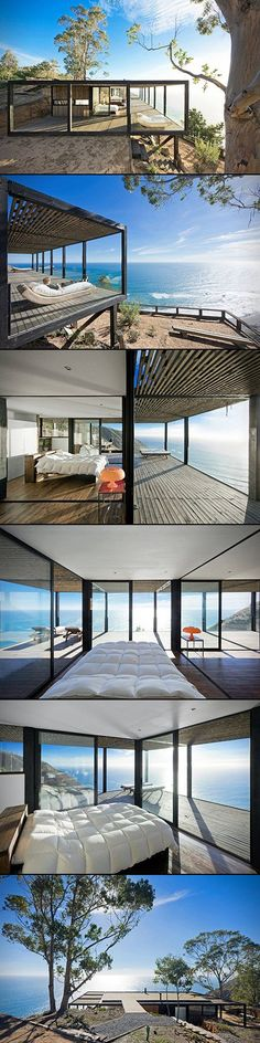 Casa Till house by WMR Architects is tucked into the side of a cliff, offering dazzling views of the Pacific Ocean to all those lucky enough to step inside. A spacious floor plan is complemented by glass walls, while an extended roof covers the massive sun terrace that's partially built on stilts and overhangs the cliff's edge. A system of sliding walls lets you mix and match your interior designs, and with locally sourced Pine wood as the main building material and solar panels for ...