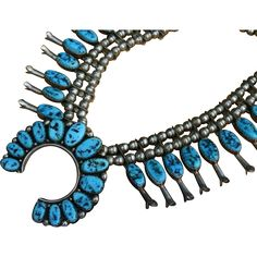 Marvelous Elsie Yazzie Large Turquoise Nugget Sterling Silver Squash Blossom Necklace found at www.rubylane.com @rubylanecom