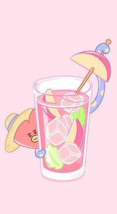 🍎Apple with ice cubes juice🍷 with 🍬candy Tata♥ Bts Chibi, Stickers Kawaii, Vkook, Line Friends, Bts Drawings, Bts Fans, Bts Group, Cute Characters, Bts Wallpaper