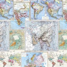 Light vintage map collage wallpaper de poca mapas clsicos y collection world maps design around the world colour blue print method digitalpaste gumiabroncs Gallery