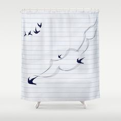 Items similar to Black Birds in Paper Shower Curtain - 71 in x 74 in Gift Cute Kids Children Fantasy Apartment Bath Bathroom Decor Accent Original Art on Etsy