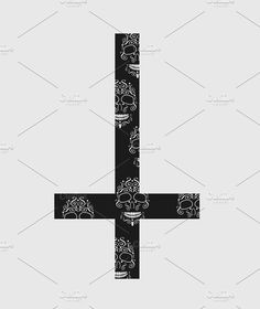 Upside down cross (inverted cross) by TeaGraphicDesign on Upside Down Cross, Satanic Art, Bill Cipher, Iphone Wallpaper Tumblr Aesthetic, Cross Designs, Tatoos, Skulls, Tattoo Ideas, Logo Design