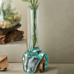 Teak and Blown Glass Tube Vase from VivaTerra