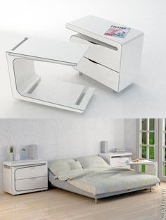 Inventions - Side Table Plus A Morning Breakfast Bed Table Multifunctional Furniture, Smart Furniture, Space Saving Furniture, Furniture Design, Furniture Ideas, Compact Furniture, Multipurpose Furniture, Modular Furniture, Classic Furniture
