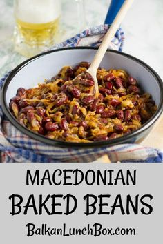 Pan Baked Beans: Balkan (Macedonian) Baked Beans (Tavče Gravče) – Balkan Lunch Box Macedonian baked beans are a beloved classic. This easy, version will bring you the best taste in the quickest amount of time. Delicious Dinner Recipes, Great Recipes, Family Recipes, Healthy Recipes, Lentil Recipes, Beans Recipes, Macedonian Food, Side Dish Recipes, Dishes Recipes