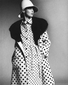 Samantha Jones in a polka-dot coat with large sable collar over matching button-front shirtdress by Galanos | Photo by Bob Stone, 1972
