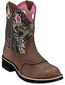 I think these will be my next boots. For plain around and gettin dirty  Ariat® Ladies Distressed Brown w/ Mossy Oak Camo Top Cowgirl Fatbaby Western Boot