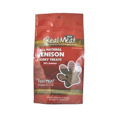 Does your picky pooch turn up his nose at treats? If so, you've got to introduce him to Real Meat's venison treats! These soft, grain free jerky treats are irresistible! Made with 95% free range, grass fed, antibiotic and hormone free venison, you can feel confident that you're giving your pup a delicious, high quality treat. Plus, venison is a great option for dogs with food allergies! These soft treats are also easy to tear into smaller pieces for training.   Made in USA.