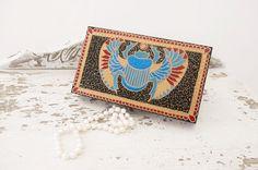 Egyptian wooden jewelry box Scarab // Jewelry storage by LekaArt