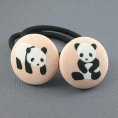 Panda Ponytail Holders  Panda Fabric Covered by MelissaAbram, $6.25