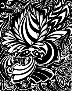 Detail freak by ~Shurka on deviantART Fall Coloring Pages, Adult Coloring Pages, Beautiful Flowers Wallpapers, Black And White Painting, Flash Art, Tattoo Stencils, Black N White Images, Flower Wallpaper, Op Art