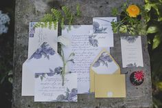 Garden Tea Party Styled Invitations  @IntimateWeddings.com Photography by Terra Lange Photography. Styling by @Something Borrowed Portland Vintage Rentals #gardenwedding #weddinginvitations