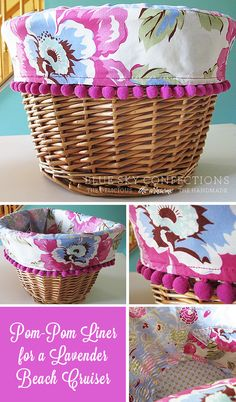 New Beach Cruiser Basket Liners.Beautiful Basket liners. #Basket liner #Liner #Basket #wicker basket
