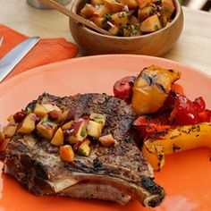 Best Cumin-Crusted Monster Pork Chop with Peach Chipotle Salsa! Happy #Fathers #Day! #pork