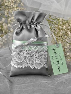 Grey and Mint Wedding Favor Bag Lace Wedding by 4LOVEPolkaDots, $1.70