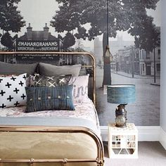 PONY RIDER | floral canvas throw | brass bed | little love cushion | merino wool blanket | sunday driving sack cushion | bedroom | cool edies | inside out magazine | a gentlemans agreement