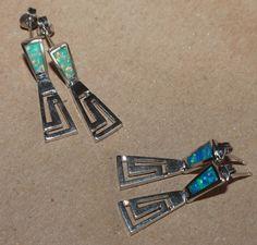 1 PAIR fire opal earrings gems silver jewelry cocktail Roman Greek key stud  #Stud