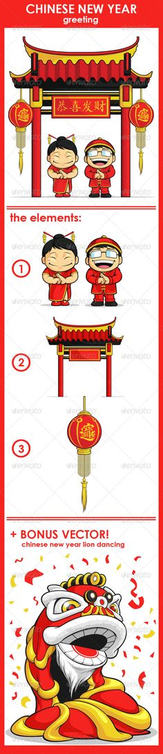 Chinese New Year Greeting #GraphicRiver A vector set of chinese boy & girl greeting, with chinese gate & lantern behind them. Drawn in cartoon style, this vector is very good for design that need chinese/oriental element in cute, funny, colorful and cheerful style. Each elements, which are the boy & the girl, the gate, and the lantern can be separated or used individually. Available as a Vector in EPS8 format that can be scaled to any size without loss of quality. Elements could be separated…