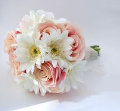 Pink Rose and White Gerbera Daisy Bouquet  by blueorchidcreations, $85.00