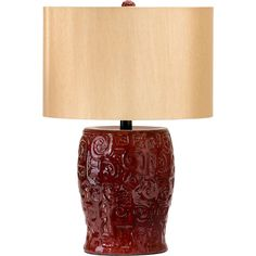 Parsons Dark Ox Blood Red Ceramic Table Lamp Wood Shade (115 CAD) ❤ liked on Polyvore featuring home, lighting, lights, red lamp, wooden lamps, wood lighting, ceramic lamps and red lights