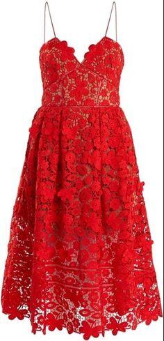 Self-Portrait Floral Lace Azaelea Cami Dress, Red Trendy Dresses, Elegant Dresses, Beautiful Dresses, Nice Dresses, Casual Dresses, Elegant Outfit, Trendy Outfits, Floral Lace Dress, Lace Midi Dress