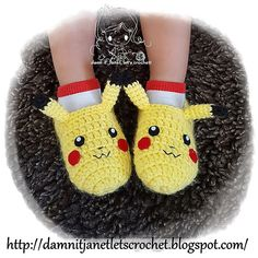 damn it Janet let's crochet!: Pikachu Slippers (toddler size) - August 17 2019 at Arm Knitting, Knitting Patterns, Crochet Patterns, Crochet Ideas, Hat Patterns, Crochet Baby Beanie, Crochet Slippers, Crochet Cowl Free Pattern, Free Crochet