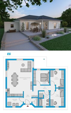 Plana 110 – turnkey solid house # spectral … ideas for your Tiny house … - Decoration Trends House Layout Plans, Bungalow House Plans, Bungalow House Design, Modern Bungalow, Dream House Plans, Modern House Plans, Small House Plans, House Layouts, Modern House Design