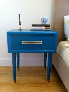 a nice blue bed side table