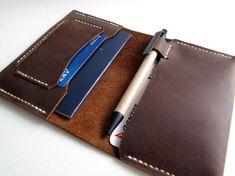 Hand-stitched matte brown passport holder / travel wallet.  HiddenGem Studio.  Gifts, men