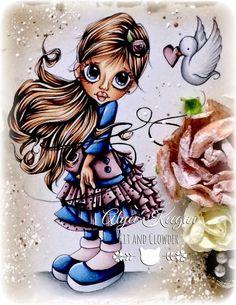 Kit and Clowder ~ SC Canary Love ~ Copics: Skin: E000, E00, E21, E11, E04, R20;  Hair: E21, E25, E59, E49;  Blue Outfit: B32, B34, B39, B99;  Pinky Outfit: RV91, RV93, RV95, RV99;  Dove: C1, C3, C5.