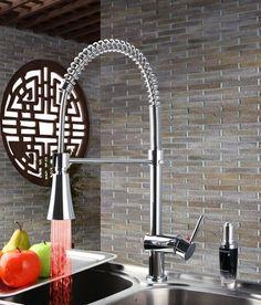 77.74$  Watch here - http://aliy5n.worldwells.pw/go.php?t=32335037892 - Single Handle Tall LED Light Swivel Chrome Soild Brass 8085/7 Basin Sink Water Vessel Lavatory Kitchen Torneira Faucet,Mixer Tap