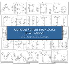 FREE B/W Alphabet Pattern Block Cards - Confessions of a Homeschooler Preschool Letters, Kindergarten Literacy, Teaching The Alphabet, Teaching Math, Letter Recognition, Alphabet Activities, Pattern Blocks, Curriculum, Printable Alphabet