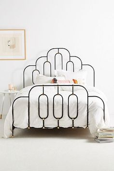 Loving this iron bed frame. Home Bedroom, Bedroom Decor, Bedroom Ideas, Art Deco Bedroom, Bedroom Designs, Bedroom Inspiration, Kids Bedroom, Bedroom Stuff, Master Bedrooms