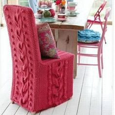 knitted-chair-cover - Good idea for my dining room chairs