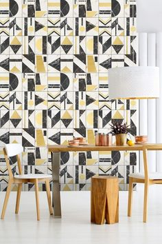 Buy MINDTHEGAP Soho Wallpaper Mural, from our Wall Murals range at John Lewis & Partners. Black Wallpaper, Cool Wallpaper, Pattern Wallpaper, Contemporary Wallpaper, Contemporary Design, Rooms Home Decor, Living Room Decor, Family Dining Rooms, Design Repeats