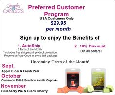 As a Preferred Customer, enjoy these exclusive benefits: 2 Packs of JIC Tarts will be shipped directly to you each month with product protection + FREE shipping for $29.95 + sales tax. Your order will be shipped the same date every month. Discover Prize Codes in your tarts to activate that could be instant winners and will get you entered into the monthly prize drawing. Receive a 10% discount on all other retail products purchased throughout the month- order as often as you wish!