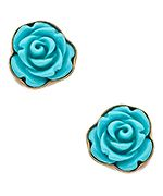 Kesha Rose by Charles Albert Blue Rose Post Earrings