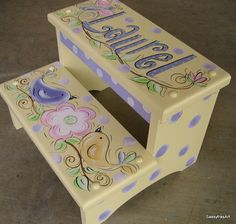 Hand Painted Step Stool (No Longer Available), Handmade Gifts for Kids Painting Kids Furniture, Wood Painting Art, Painting For Kids, Hand Painted Chairs, Hand Painted Furniture, Diy For Kids, Gifts For Kids, House Party Decorations, Kit Bebe
